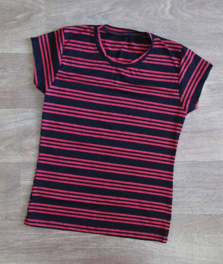 Женская футболка в полоску, стрейч кулир