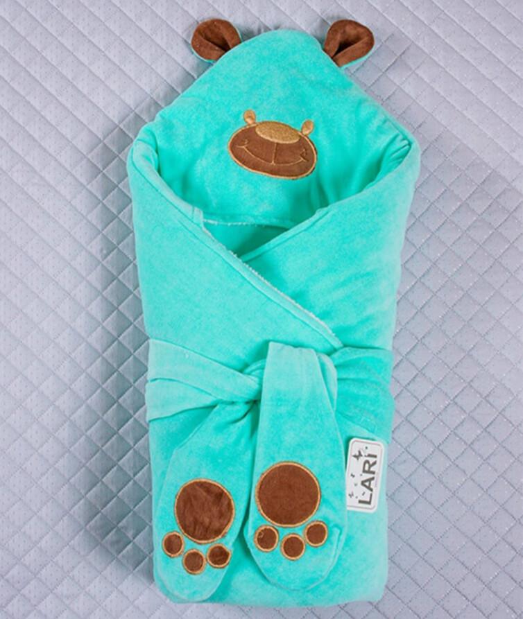 Теплый конверт для новорожденого Лари панда велюровый