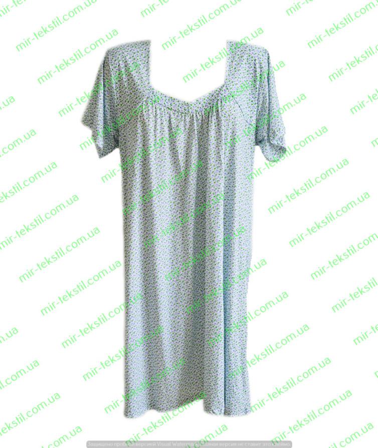 Женская ночная рубашка хлопок с коротким рукавом на кокетке