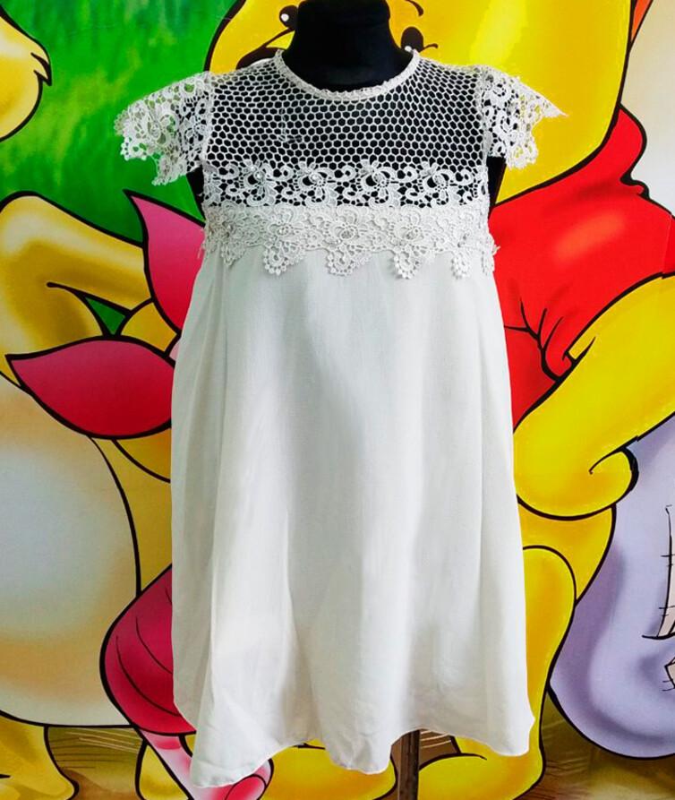 Шифоновое платье на девочку с кружевом Турция 80% хлопок, 20% полиэстр