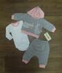 Ясельный костюм тройка на девочку (кофта, боди, штаны) Турция, интерлок + футер